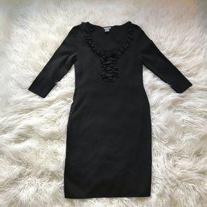 ANN TAYLOR BLACK SILK BLEND RUFFLE SHEATH DRESS